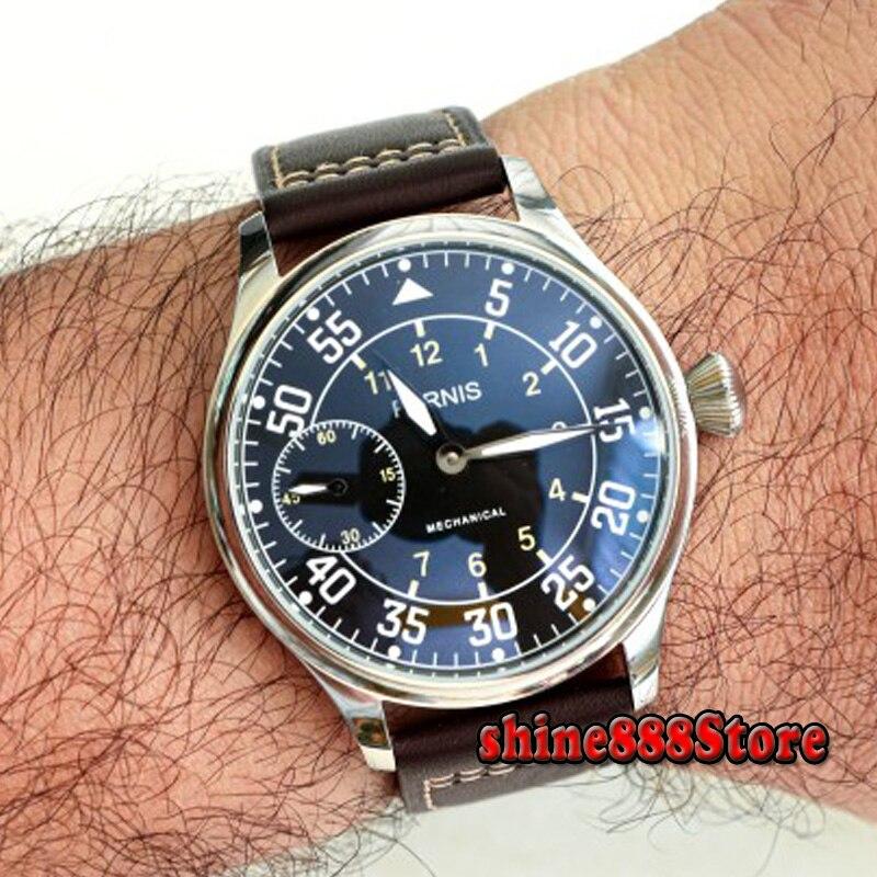 Parnis-ساعة رجالية ميكانيكية ، حزام جلدي ، مع علبة 44 مللي متر ، لف يدوي ، ST3600 ، 2020 ، أفضل العلامات التجارية الفاخرة
