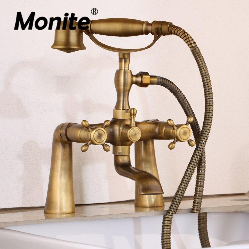 Monite-صنبور دش نحاسي عتيق مع دش يدوي ، خلاط حمام ، صنبور هاتف ، مجموعة دش ساخنة وباردة