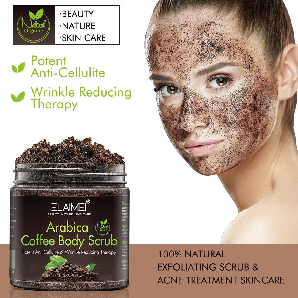 250g Arabica Coffee Scrub Body Scrub Cream Facial Dead Sea Salt For Exfoliating Whitening Moisturizing Anti Cellulite Treatment