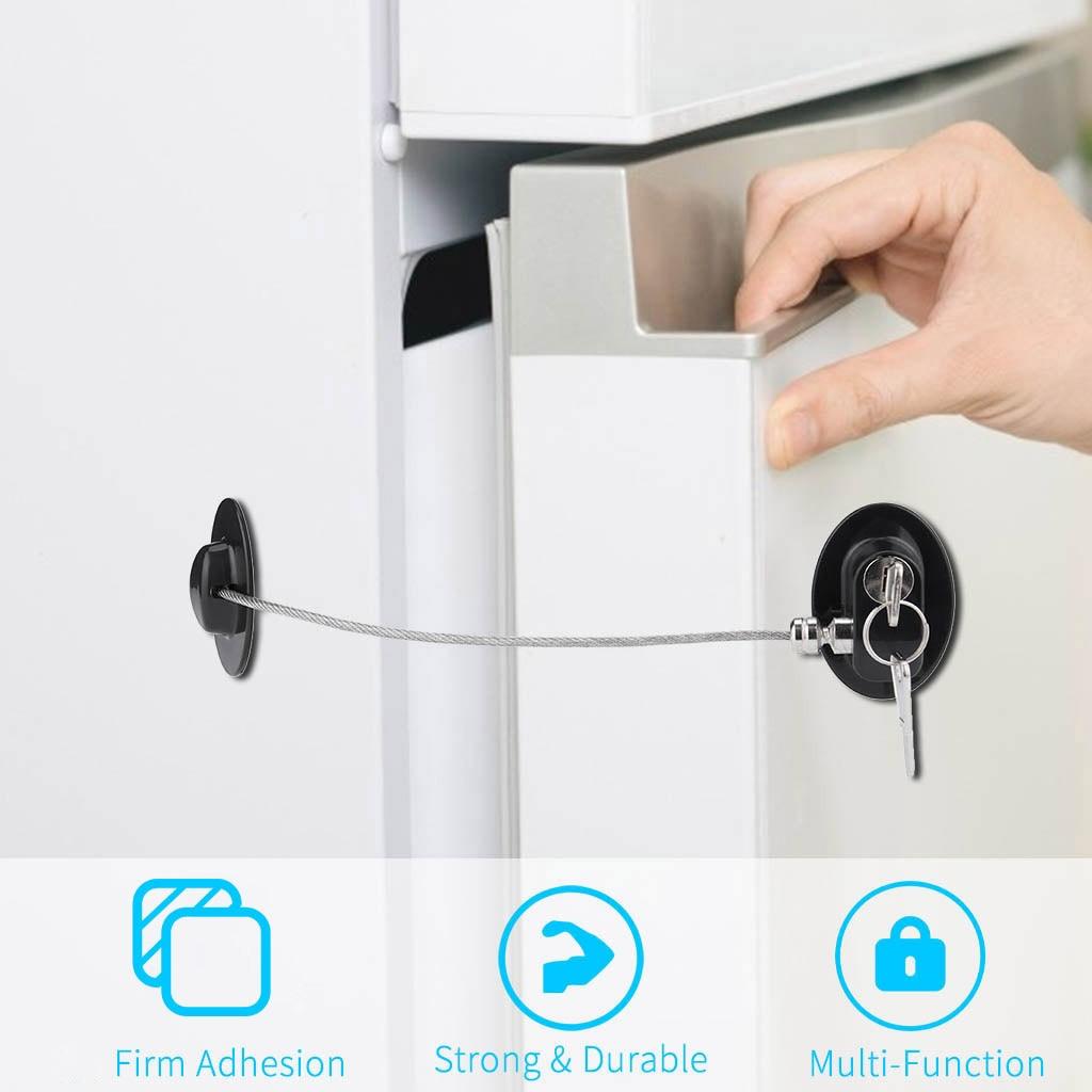 1 pcs Security Refrigerator Door Lock with 2 Keys Fridge Freezer Child Proof Safety Lock Drawer Door Cabinet Toilet Safety Locks
