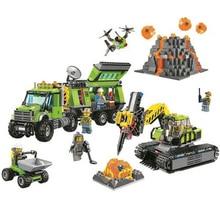 벨라 10641 도시 화산 탐사 기지 빌딩 블록 건설 장난감 60124 도시 수치 모델 벽돌 장난감 선물