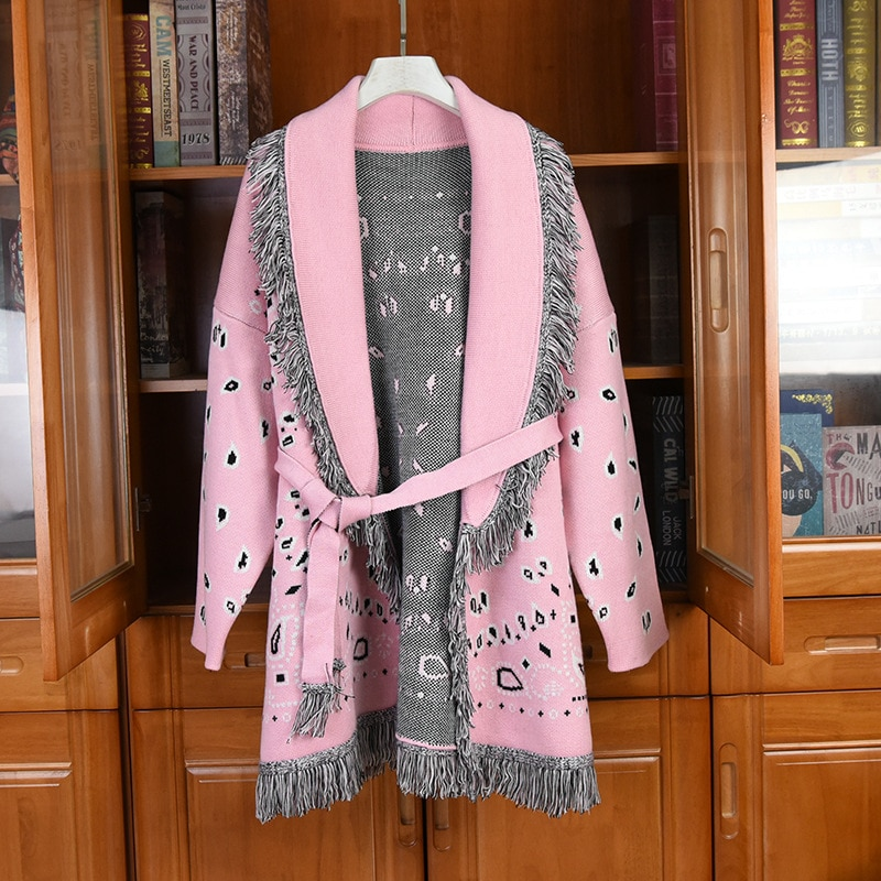 2020 Autumn Winter Women high quality embroidery tassels Belt cardigans New Designer women loose knitted coat C514 enlarge