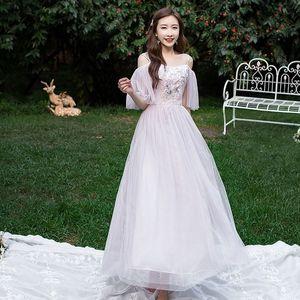 Elegant Evening Dresses Long 2021 Summer Embroidery A Line Formal Party Dress Long Banquet Evening Dress Women Ceremony Female
