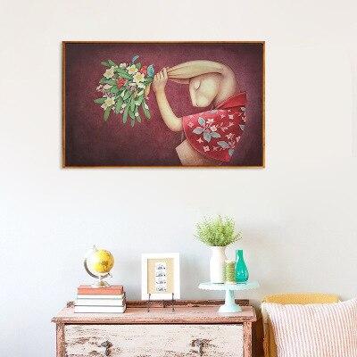 Retro cartoon aquarell Fräulein kaninchen studie zimmer dekoration malerei zu hause wohnzimmer schlafzimmer leinwand malerei
