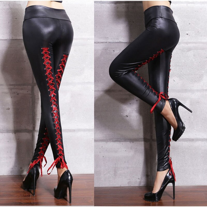 Women Sexy Lace Bandages Leather Pants Black PVC Leggings Goth Fetish pu Faux skinny Punk Rock Wet Look Club Wear