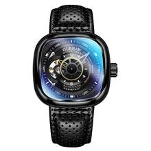 Glenaw Design Brand 2021 Men Hollow Automatic Black Mechanical Watch GMT  Top Brand Reloj Hombre Wat