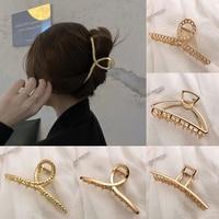 Женская заколка-краб для волос, металлическая заколка-краб с перфорацией, аксессуар для волос в Корейском стиле, 2021