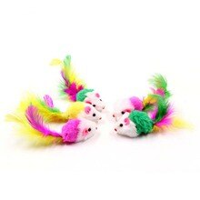 Multicolor Furry Mouse Cat Kitten Real Fur Gravel Sounds Cute Toy Faux Mice Cat Scratching Toys Gato
