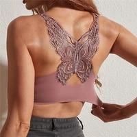 2021 new bras for women seamless plus size bra push up women bra latex with pad vest top sexy butterfly beauty back female bra