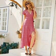 Yg brand women's 2021 summer new fashion split large swing floral short sleeve V-neck dress