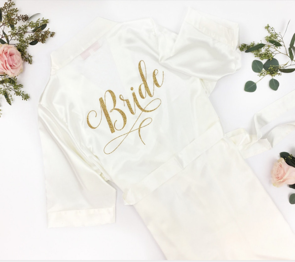 personalize Bridal Lingerie Shower personalised Bachelorette Party dress robe Maid of Honor kimono bathrobe satin Robe date name