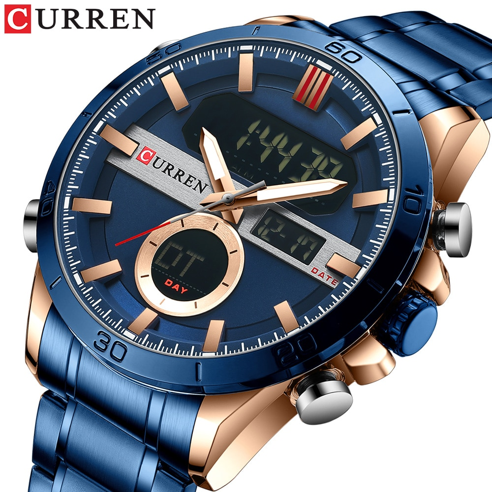 CURREN Men Designer Watches Luxury Watch Brand Sport Digital Wristwatches Multifunctional Electronic