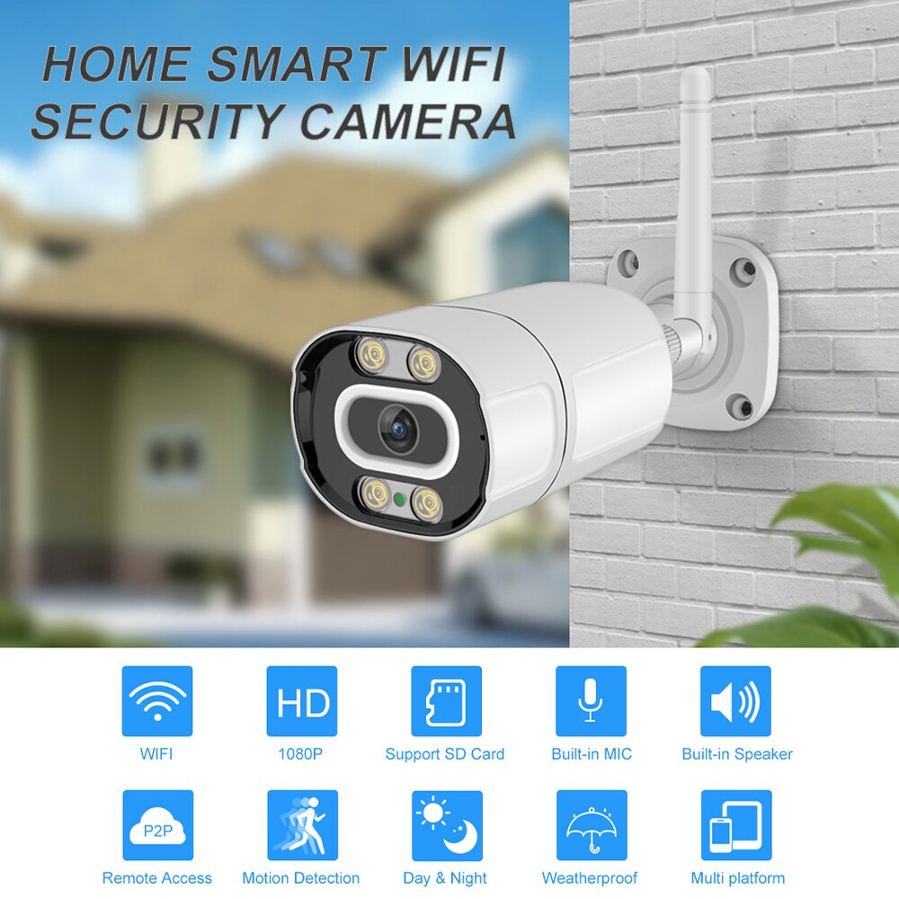 2 pcs wifi camera 1080p hd 2 0mp wireless ip security camera two way audio tf card record smart p2p waterproof bullet camera 1080P IP Camera Wifi Wireless 2MP Two Way Audio Video Night Vision Surveillance Camera Human Detection TF Card Record Outdoor
