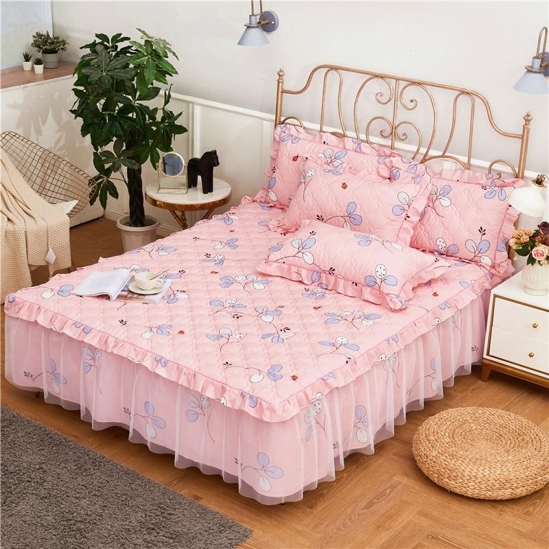 جميع القطن الطباعة و سماكة اللحف السرير انتشار المجهزة ورقة سادات 2/3 قطعة الفاخرة الأميرة مطوي الدانتيل الفراش.