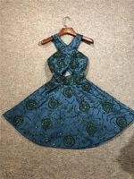 2021 newest customized real pictures dark green sleeveless satin beadings a line short length evening party prom dancing dresses