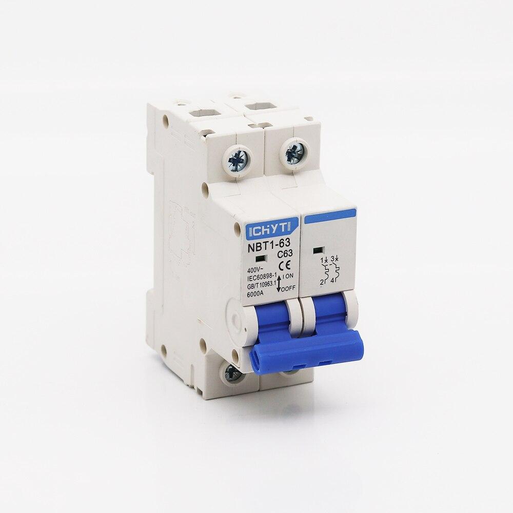 NBT1-63 2 polos 6A 10A 16A 20A 32A 40A 50A 63A 400V tipo C mini disyuntor magnetotérmico de montaje en carril din de 35mm de capacidad de ruptura 6KA