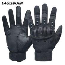 Gants militaires noirs pour hommes   Gants de Simulation de Force en Fiber de carbone, gants tactiques dextérieur, gants militaires de Combat plein doigt pour hommes