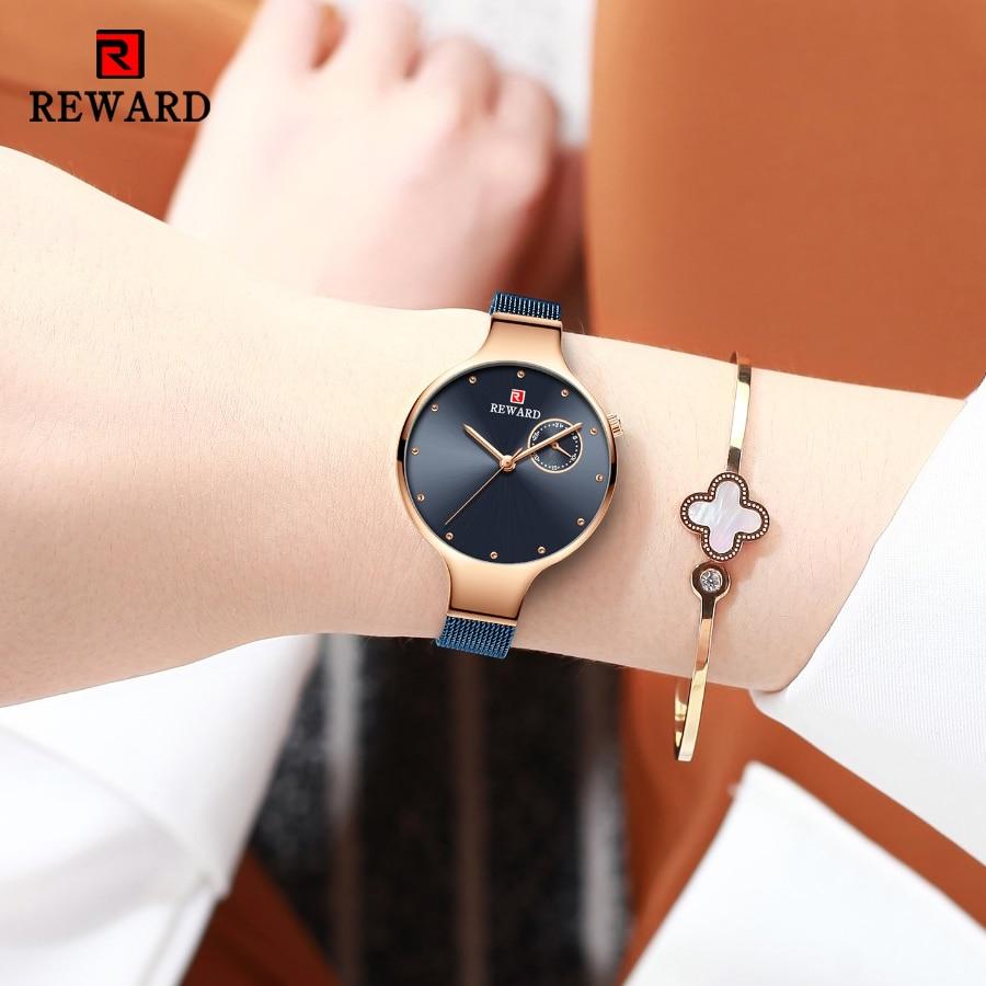 2021 New REWARD Women Fashion Blue Quartz Watch Lady Steel Strap High Quality Casual Clock Waterproof Wristwatch Gift for Wife enlarge