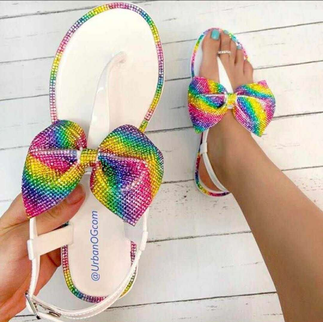 Women's Sandals Bowknot Rhinestone Outer Slippers Candy 2021 Summer New Open Toe Outdoor Muller Beach Shoes Size 37-41
