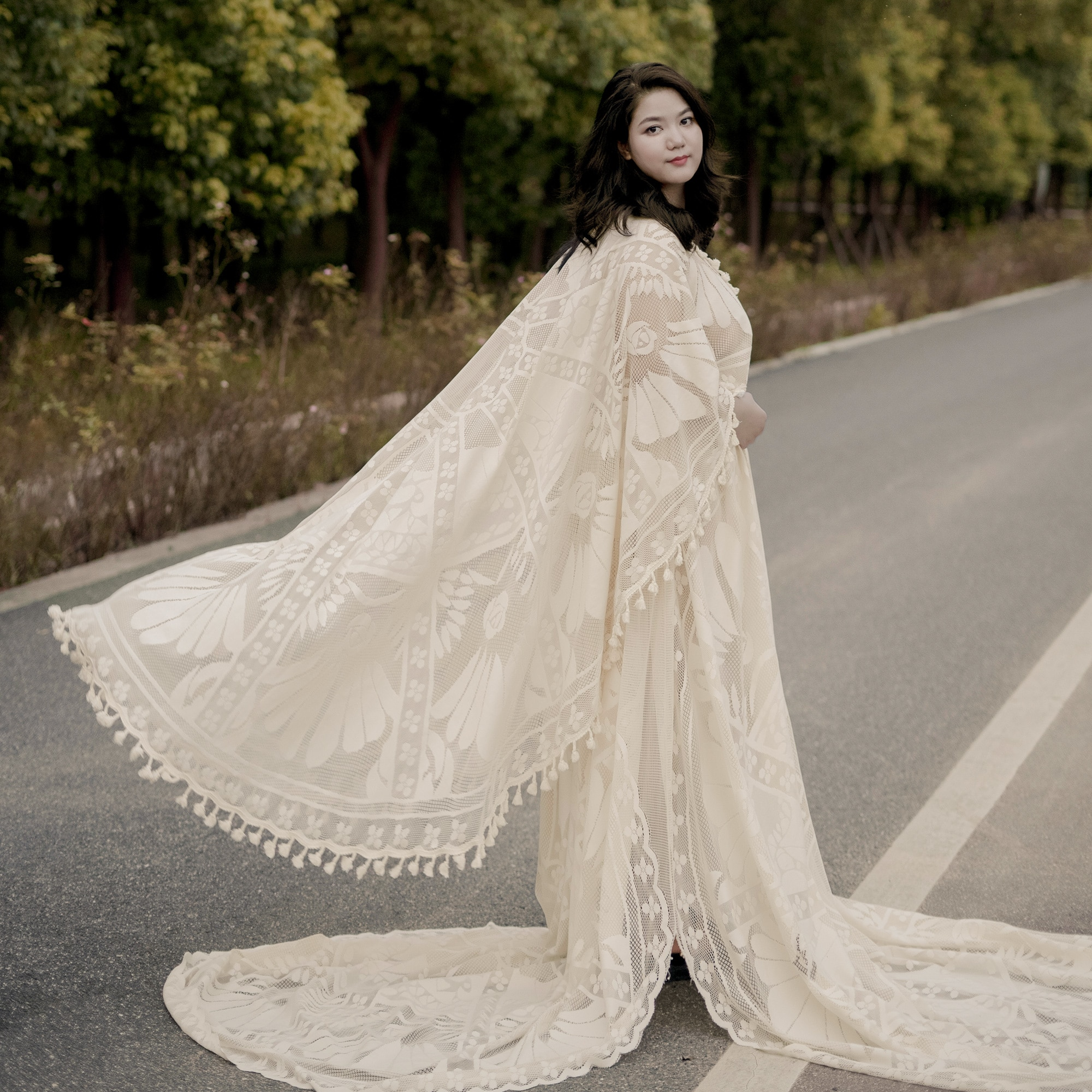 Don&Judy Beige Long Cape Maternity Photography Lace Dress Pregnancy Bohemia Photo Shoot Dresses Fitting Baby Shower 2021