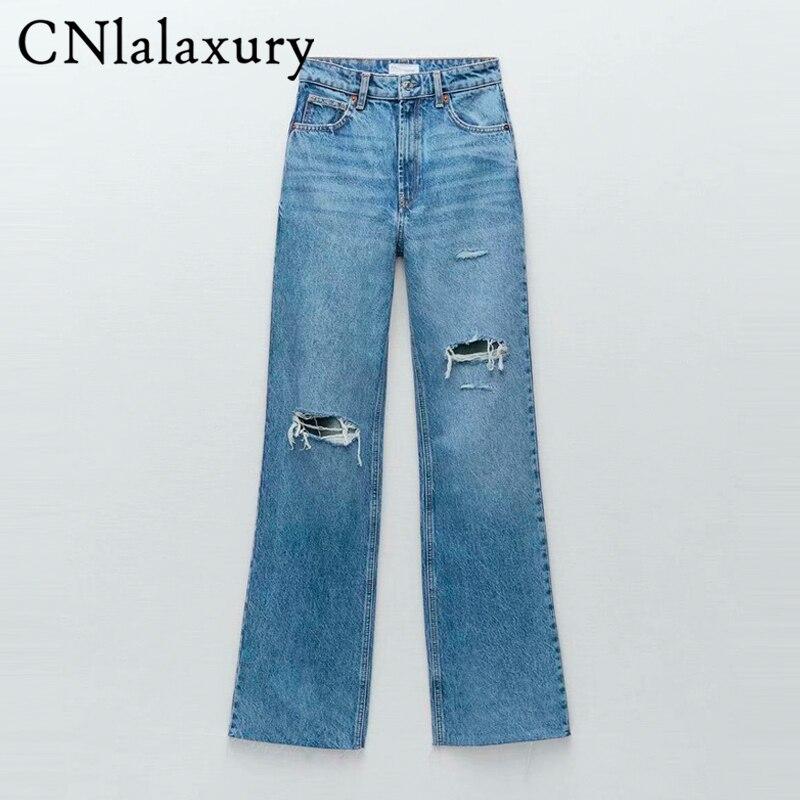 Cnlalaxبلوزة النساء 2021 شيك موضة ممزق هول واسعة الساق الجينز خمر عالية الخصر سستة يطير الإناث سراويل جينز السراويل Mujer
