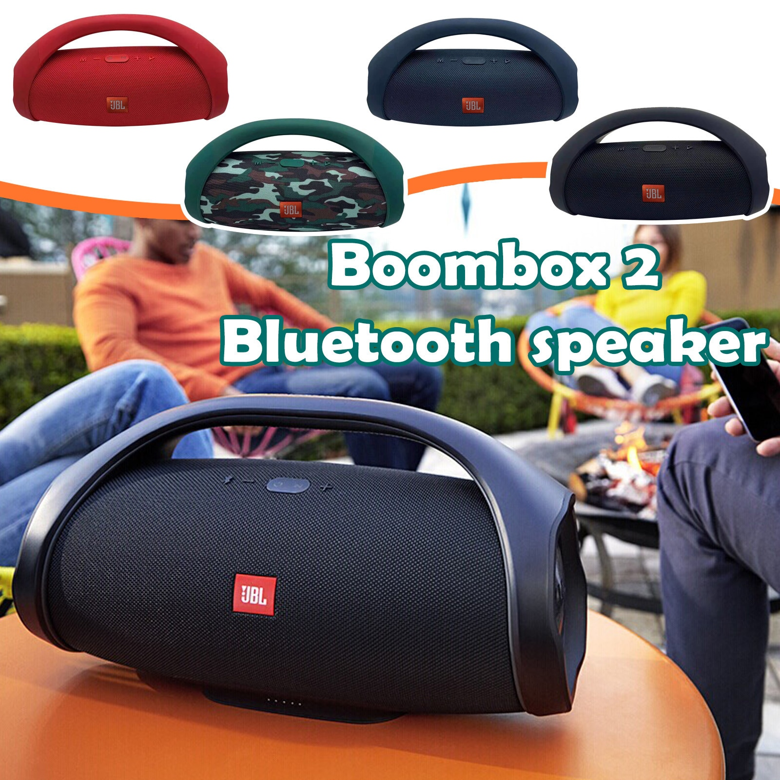 JBL Boombox 2 ميكرفون بلوتوث محمول IPX7 بوم صندوق مقاوم للماء مكبر الصوت ديناميات الموسيقى مضخم صوت ستيريو في الهواء الطلق