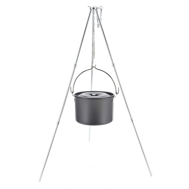 Trípode de Camping para olla colgante de fuego, utensilios de cocina para Camping, olla de cocina para Picnic WY5408