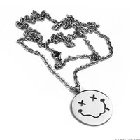 mens funny face necklaces pendants stainless steel male steel accessories chains necklace jewelry on the neck simper hip hop