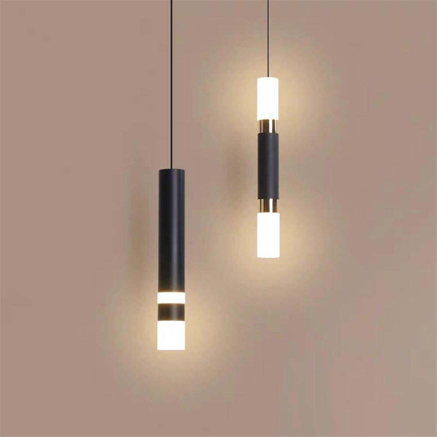 الاكريليك LED المطبخ قلادة ضوء السرير الأسود أنبوب حامل مصباح معلق عداد جزيرة تعليق تركيبات إضاءة معلقة
