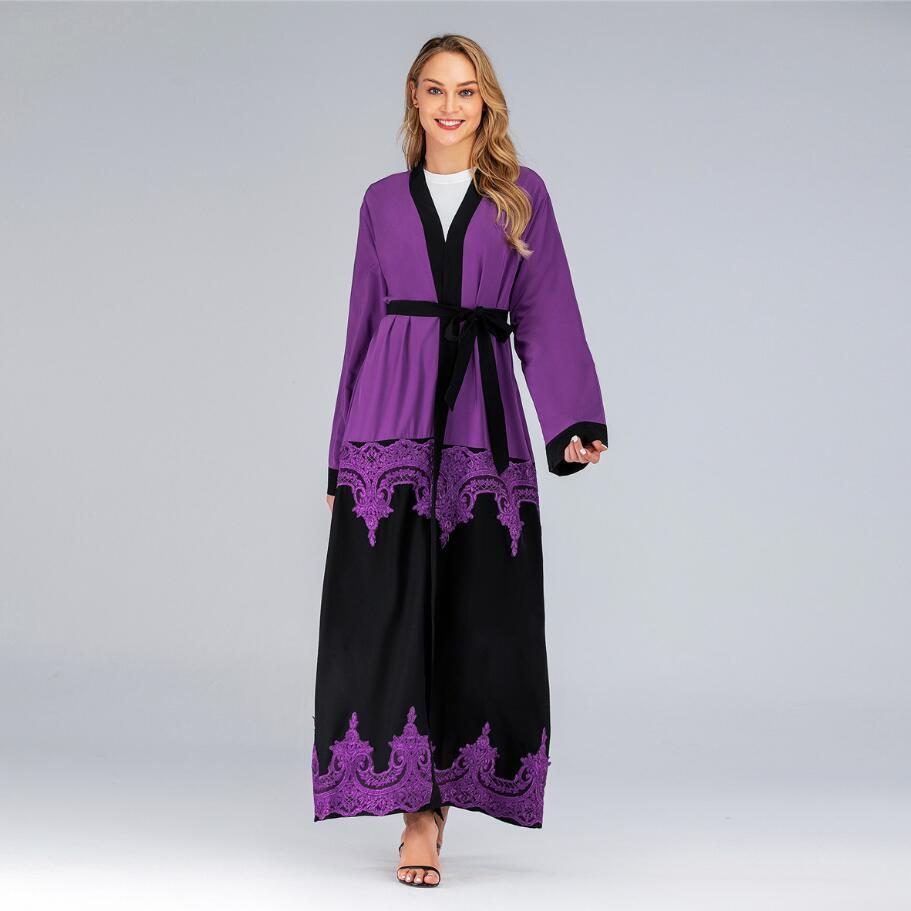 فستان إسلامي طويل من الدانتيل ، كارديجان مخرم مع حزام ، مقاس كبير ، موضة جديدة 2020 ، a1277