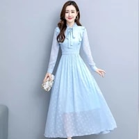 early autumn 2021 spring and summer new lady chiffon dress women waist thin temperament medium length jaculin long dress