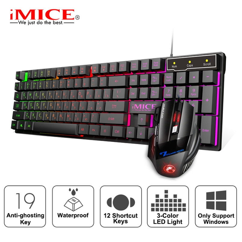 Gaming keyboard Wired Gaming Mouse Kit 104 Keycaps With RGB Backlight Russian keyboard Gamer Ergonom