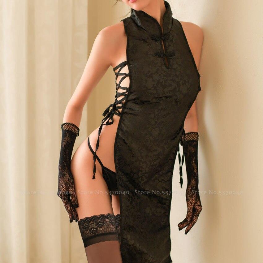 Китайский Cheongsam девушка сексуальная пижама Qipao женское черное раздельное Бандажное мини платье кружевные пижамы купальный костюм Аниме Косплей Костюм