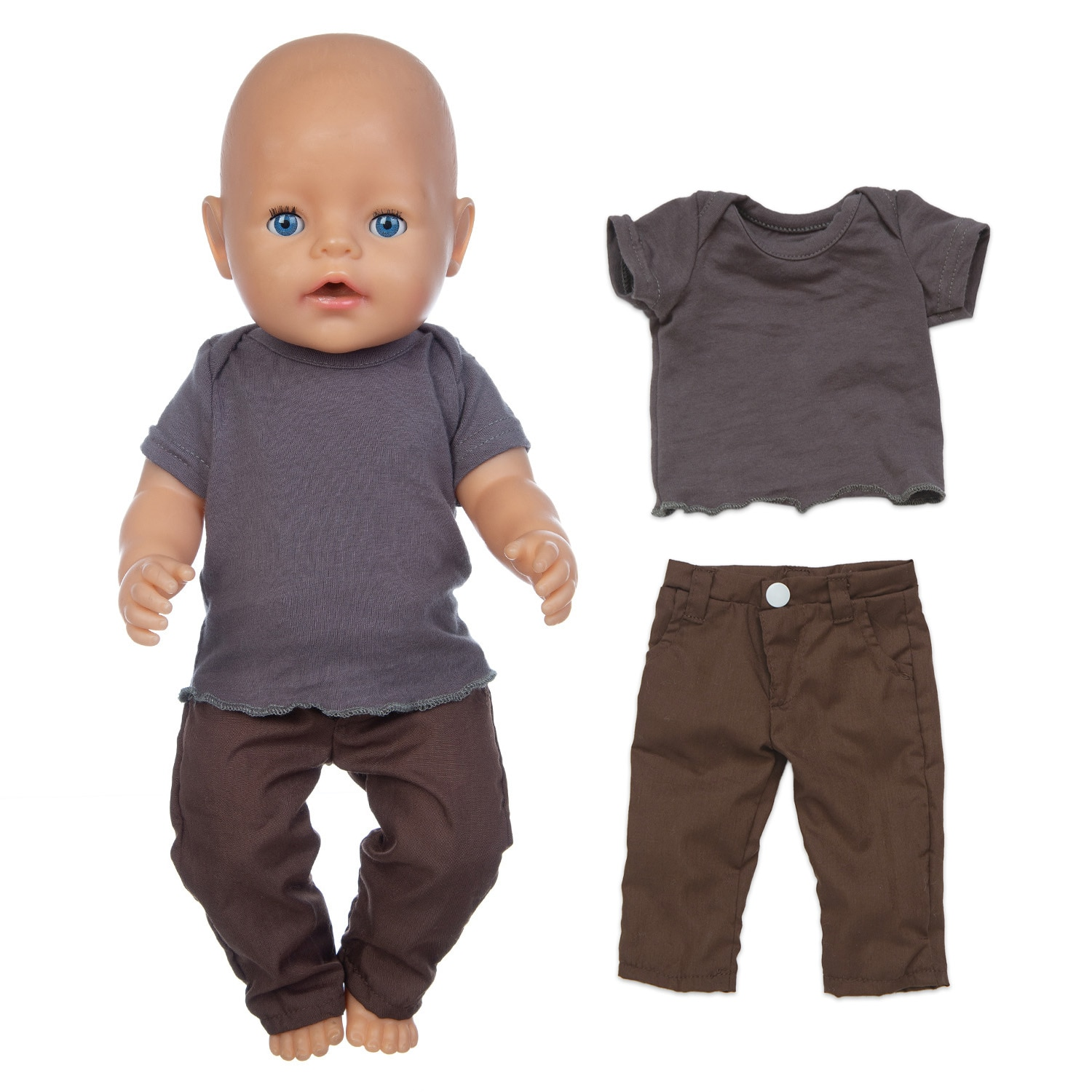 Baby New Born Fit 18 inch 43cm Doll Clothes Accessories Black Shirt Gray Pants Clothes For Baby Birthday Gift недорого