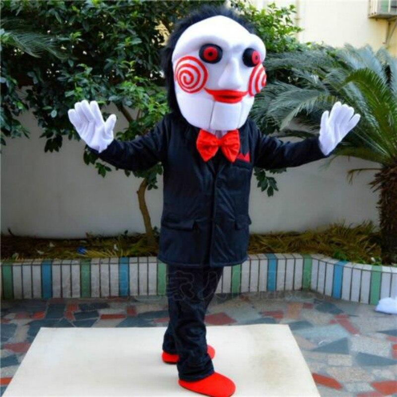 Utilería de miedo para Halloween, disfraz de la mascota de Saw, disfraz de mueca Monster, traje de fiesta, vestido para adultos, disfraces, Carnaval, Navidad, Pascua, Ad