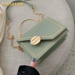 MANHAN Matcha Green PU Leather Chain Design Crossbody Bags Women Small Chain Handbag Small Bag Hand Bag Ladies Designer