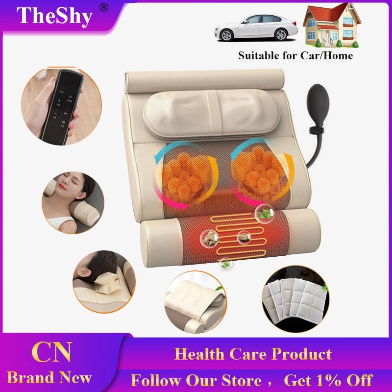 Almohada de masaje TheShy para el cuidado de la salud, calefacción por infrarrojos, masajeador 3D para amasar, relajar el cuello de la cabeza, parte trasera del pie masajeador corporal eléctrico para el hogar o el coche