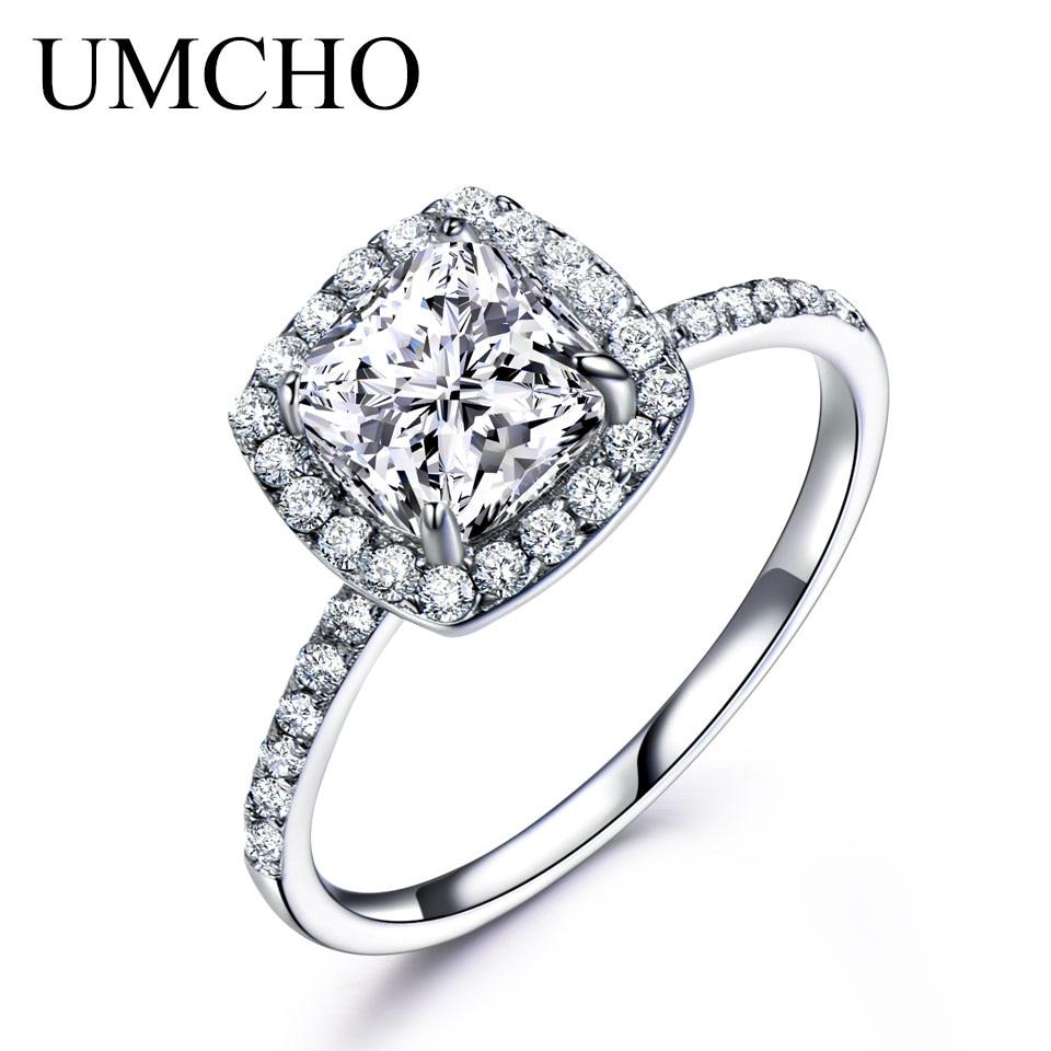 Anillos de plata sólida 925 UMCHO para mujer, anillo solitario, anillo de compromiso, banda de boda, regalo de fiesta a la moda, joyería fina