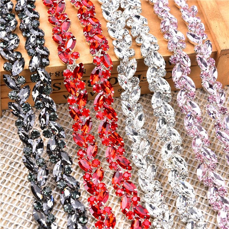 1 Meter Dense Horse Eye Rhinestone Flower Chain Sew On Glass Crystal Diamond Clothing Shoelace Accessories Diy Decoration Trims
