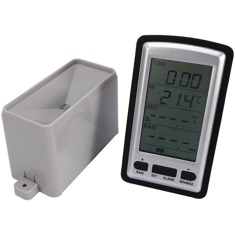 ¡Oferta! Medidor de lluvia inalámbrico estación meteorológica Indicador de lluvia para grabadora de temperatura interior/exterior