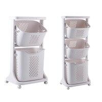 Large Nordic hamper household plastic storage basket bathroom storage basket universal wheel rack