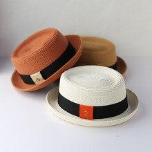 2021 Summer Men Raffia Straw Sun Hat Dad Boater Fedora Hats Male Flat Pork Pie Beach Hat Lady Panama
