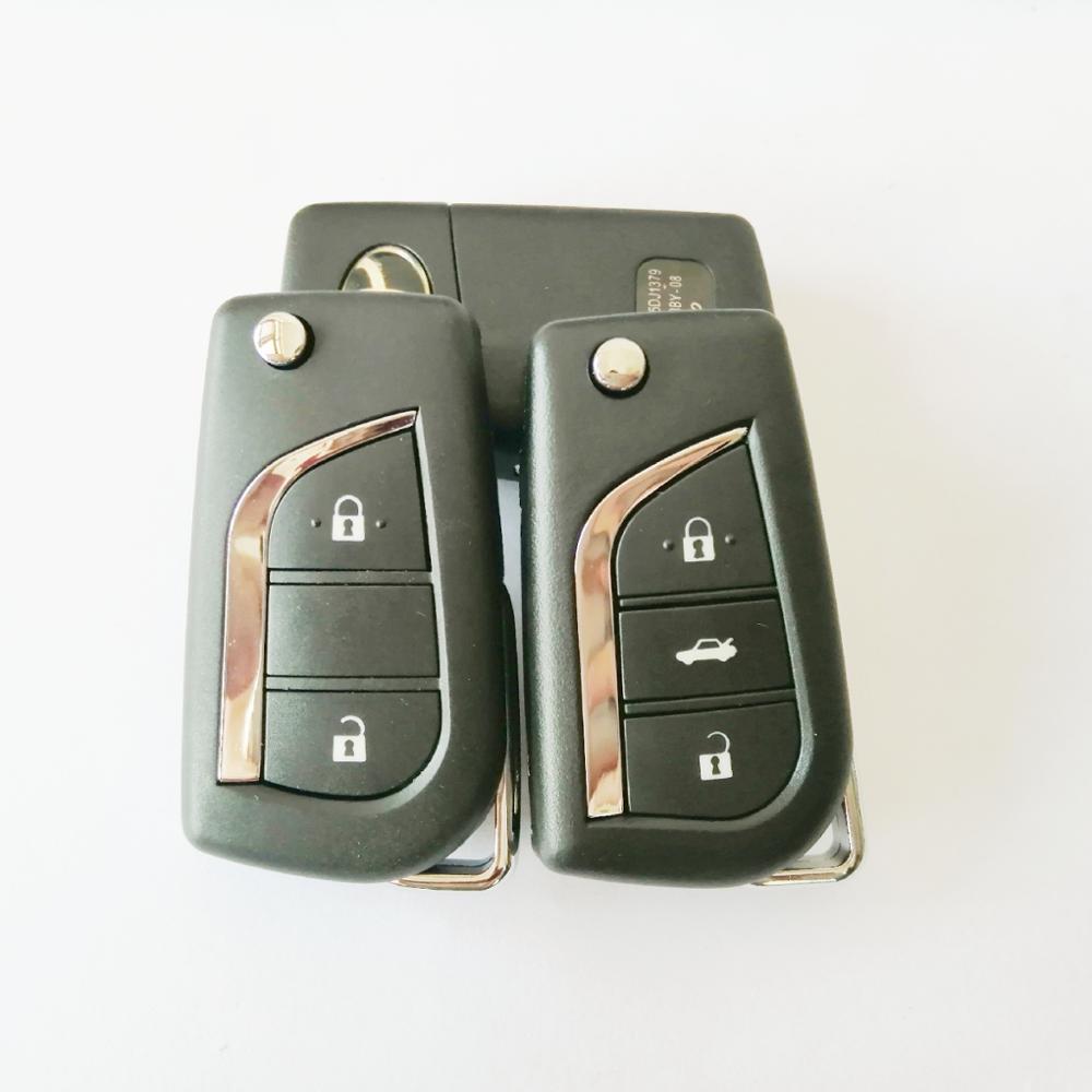 Складной чехол-брелок с логотипом для Toyota Highlander Coralla Camry RaV4 Reiz VIOS, 3 кнопки, без резьбы, с лезвием TOY43