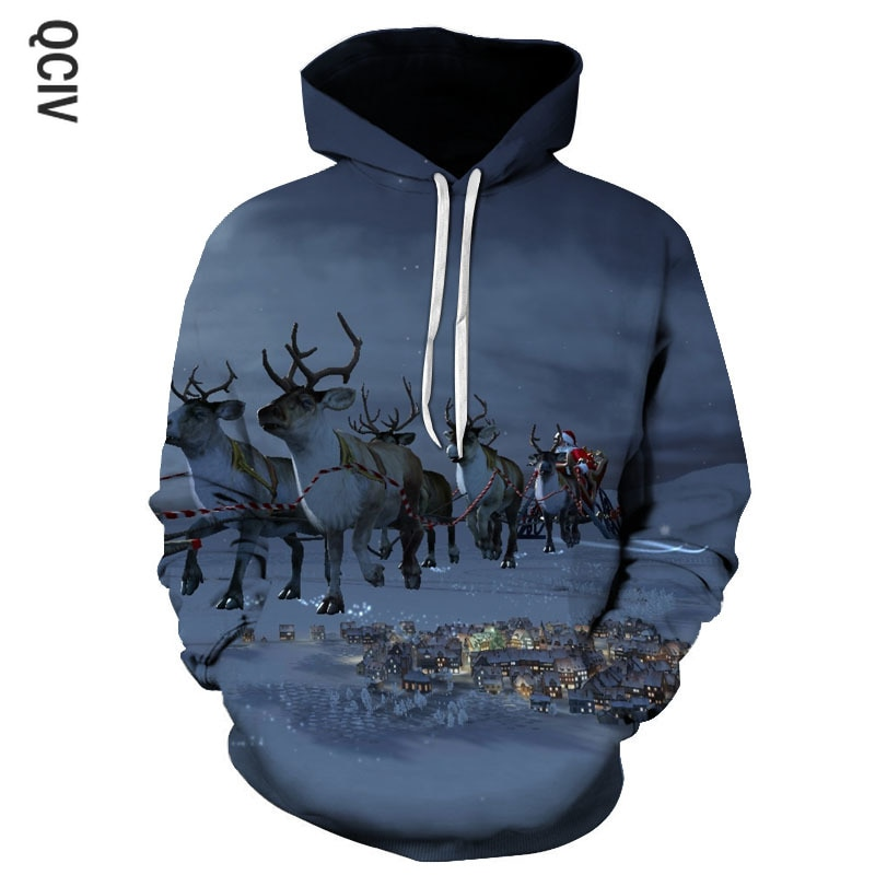 Children's clothing men's 3D printed hooded sweatshirts men's Christmas theme hoodies autumn and winter fashion hooded pullovers