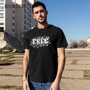 KUEGOU 100% Cotton Tee Clothing Men's T-shirt Short Sleeve Summer Tshirt High Quality Letter Print Fashion Top Plus Size 90004