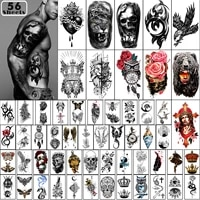 temporary tattoos 56 sheets waterproof arm tattoo tiny tattoo flowers crowns animal dragon collection tats for men and woman