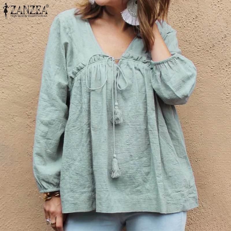 2020 de talla grande ZANZEA otoño las mujeres blusa de cuello en V manga larga de algodón Vintage volantes camisa túnica Tops Blusas camisa