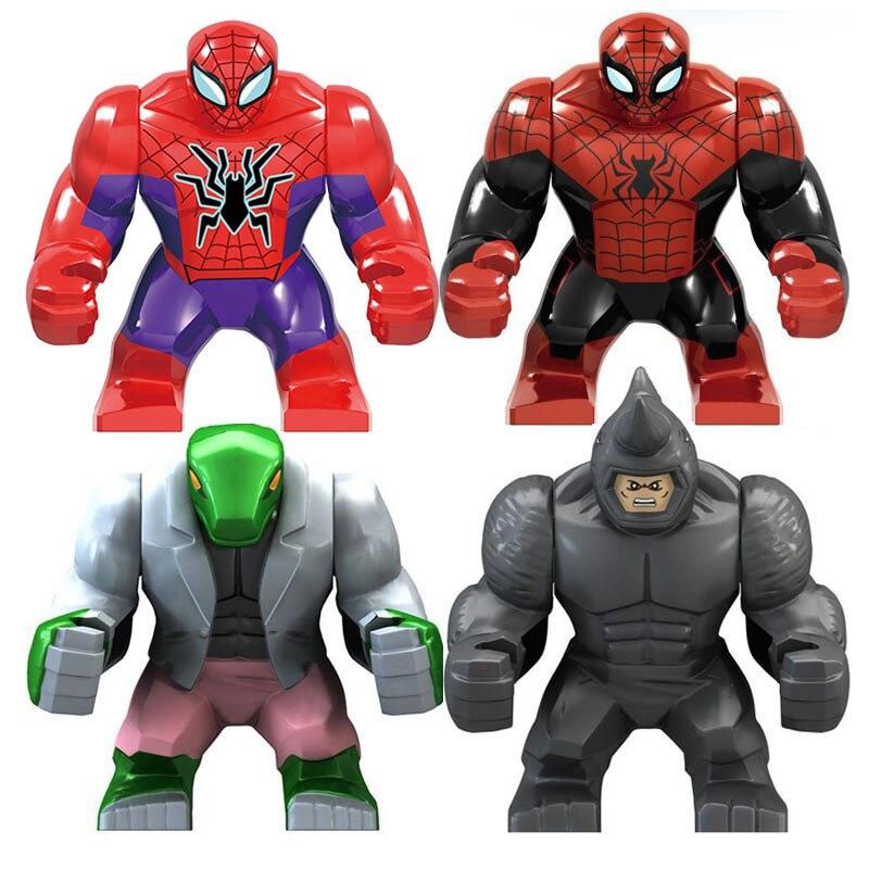 Big Size The Spiderman Lizard Man Rhino Thanos  Character Model Figure Blocks Construction Building Brick Toys For Children