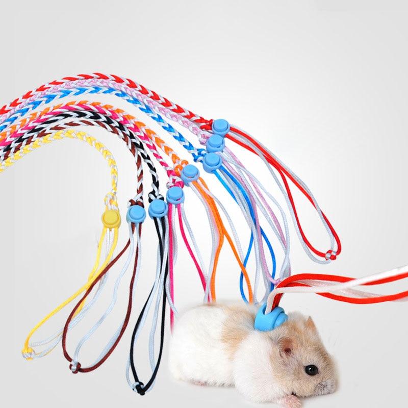 Adjustable Pet Hamster Leash Gerbil Cotton Rope Harness Lead Collar for Rat Mouse Hamster Pet Cage Leash