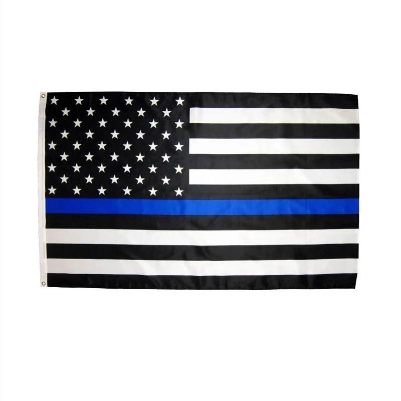 3x5Fts mince rouge et bleu double ligne drapeau américain pour les policiers pompiers premiers intervenants